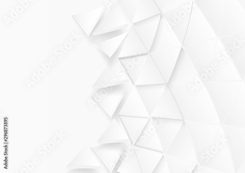 Fototapeta Abstract. Flying polygon triangle paper white Background. light and shadow .Vector. obraz