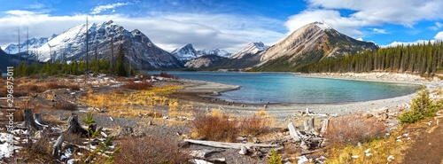 Montage in der Fensternische Himmelblau Autumn Colors, Distant Snowcapped Mountain Peaks and Wide Panoramic Landscape of upper Kanananskis Lake in Canadian Rockies, Alberta Canada