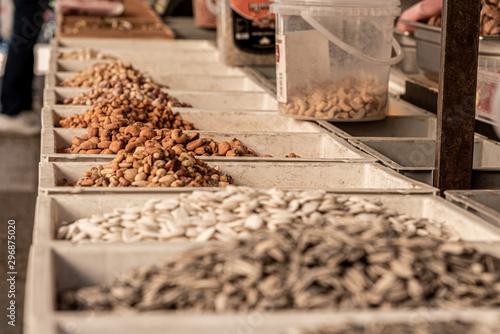 Fotografija  Sweet corn and nuts for snack, in a street market