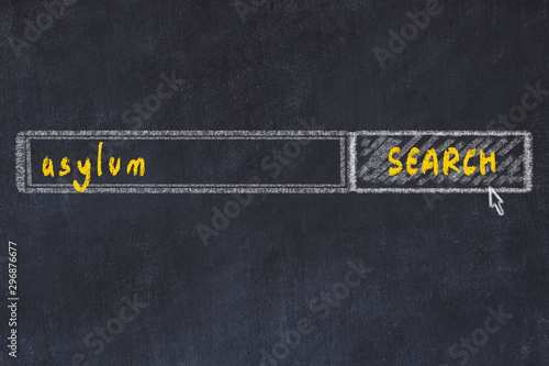 Photo Chalkboard drawing of search browser window and inscription asylum