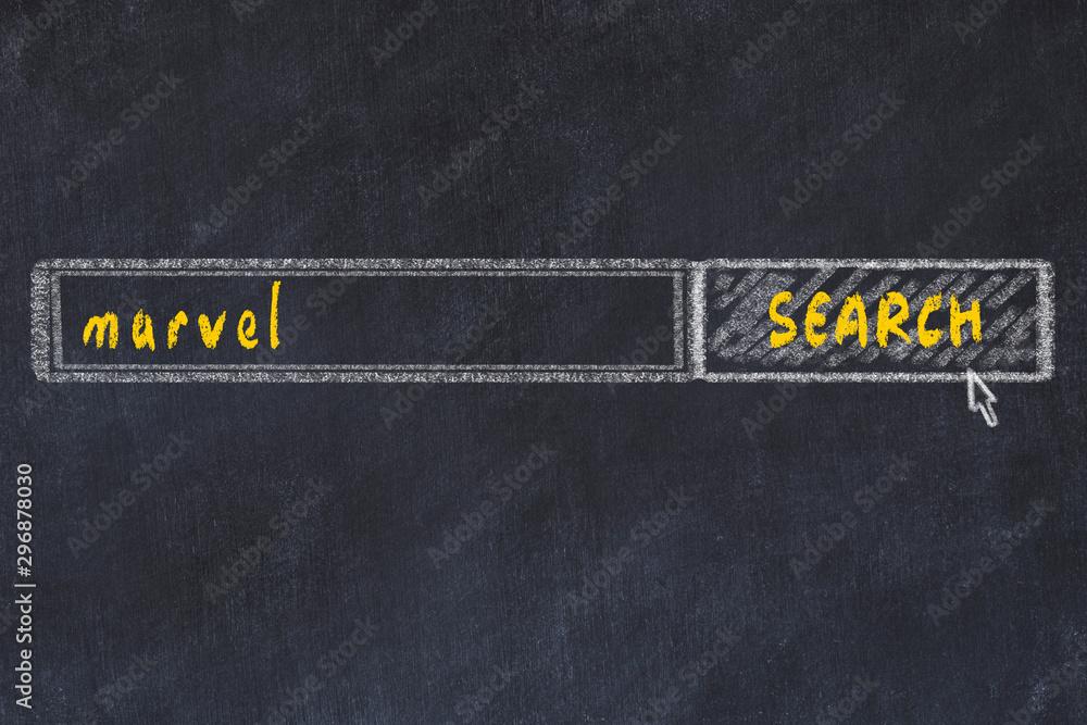 Rysunek tablicy wyszukiwania w przeglądarce i napis cud <span>plik: #296878030 | autor: iushakovsky</span>