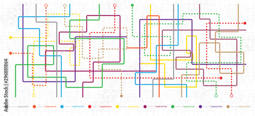 Obraz Metro map tube subway scheme. City transportation vector complex grid. Underground map. DLR and crossrail map design template. Live strokes included. - fototapety do salonu