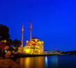 Leinwanddruck Bild - Ortakoy mosque and the bosphorus bridge at night in Istanbul, Turkey.