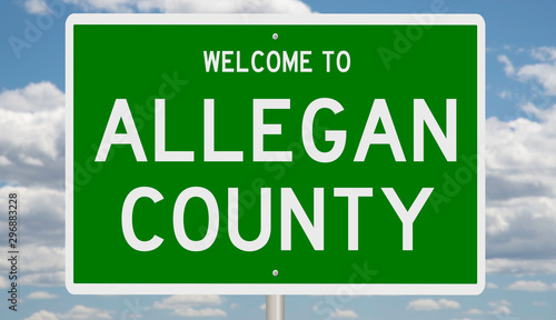 Cuadros en Lienzo Rendering of a green 3d highway sign for Allegan County
