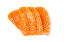 Salmon Raw Sashimi Isolated On...