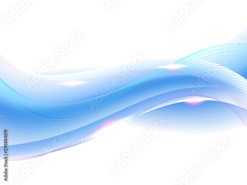Fotobehang Fractal waves Abstract blue waves with lens flare effect.