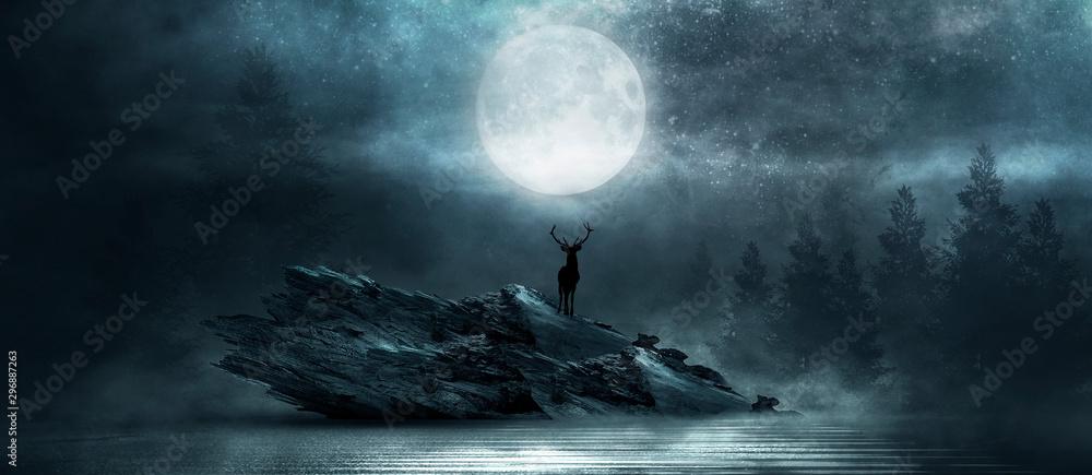 Fototapeta Futuristic night landscape, moonlight, shine. Dark natural scene with reflection of light in the water, neon blue light. Dark abstract background.