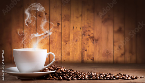 Fotobehang koffiebar creative coffee beans background photo