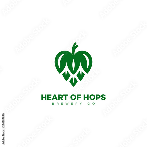 Fototapeta Heart of hops logo