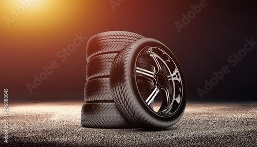 Pinturas sobre lienzo  clean tire scene photo in the dark background