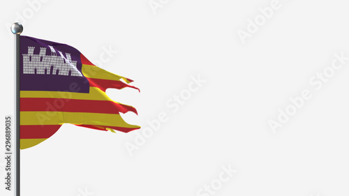 Balearic Islands 3D tattered waving flag illustration on Flagpole. Perfect for background with space on the right side.