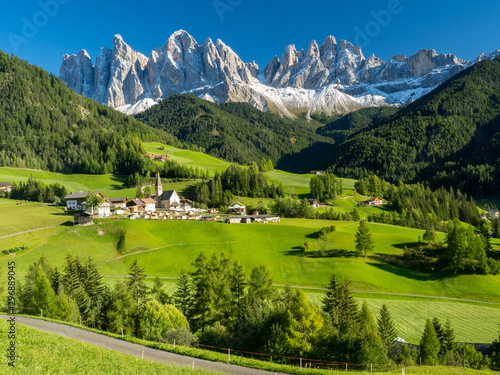 Italy , september 2017: Green valley Santa Maddalena village church, Val di Fune Canvas Print