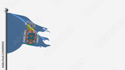 Melilla 3D tattered waving flag illustration on Flagpole. Perfect for background with space on the right side.