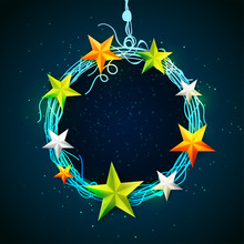 Circular Frame Decorated With Glossy Stars.