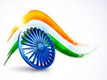 3D Ashoka Wheel With Indian Fl...
