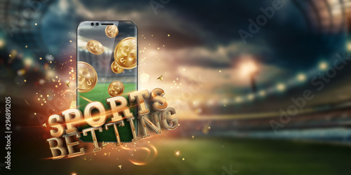 Photo Gold inscription Sports Betting on a smartphone on the background of the stadium