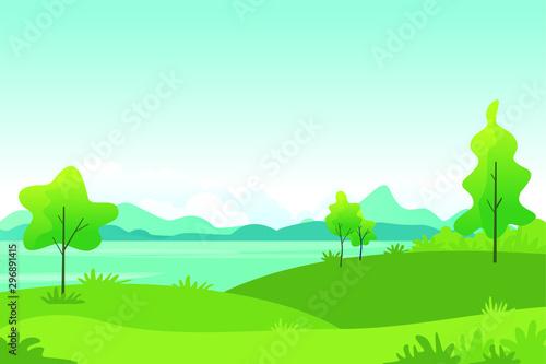 Foto auf Gartenposter Reef grun Beautiful Landscape Vector Illustration design, cute, lovely, adorable and scenery landscape design