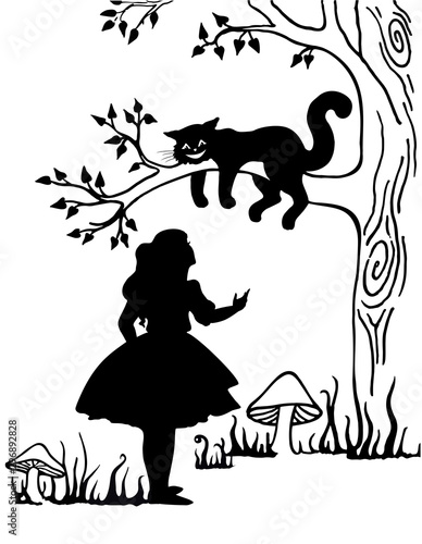 Alice and Cheshire cat Canvas-taulu