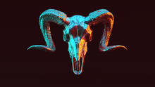 Silver Ram Skull With Red Oran...