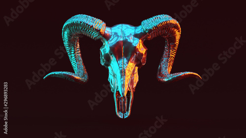 Cuadros en Lienzo Silver Ram Skull with Red Orange and Blue Green Moody 80s lighting Front 3d illu