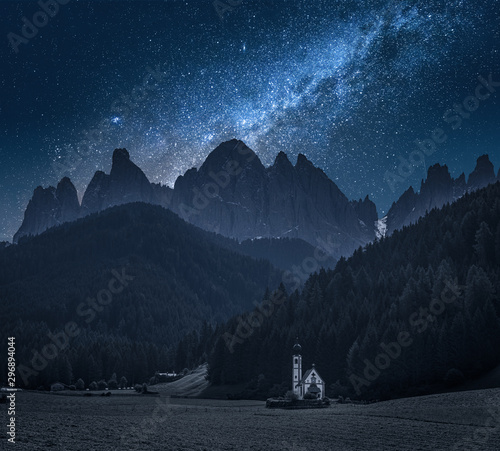 Fotografie, Tablou  Milky way over Church St. Johann in Ranui, Dolomites