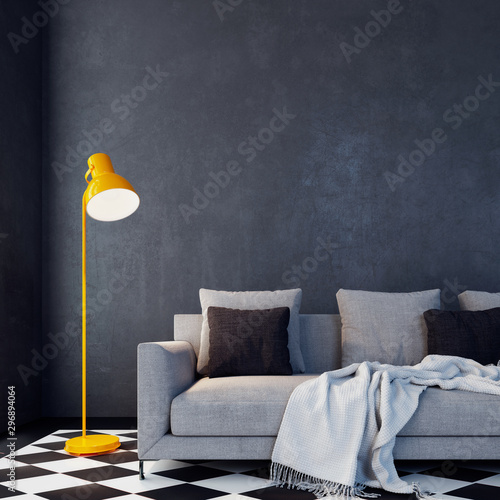 Obraz Modern empty interior design with sofa and yellow floor lamp 3D Rendering - fototapety do salonu