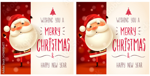 Santa Claus with big signboard. Merry Christmas calligraphy lettering design. Creative typography for holiday greeting. - 296895677