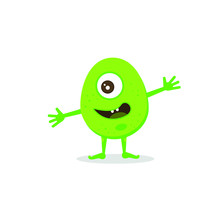 Funny One-eyed Green Monster. A Friendly, Smiling Creature.