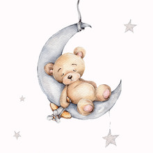 Cute Sleeping Teddy Bear On The Silver Moon; Watercolor Hand Draw Illustration; With White Isolated Background