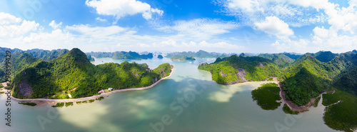 Aerial view of Ha Long from Bay Cat Ba island, unique limestone rock islands and karst formation peaks in the sea, famous tourism destination in Vietnam Fototapete
