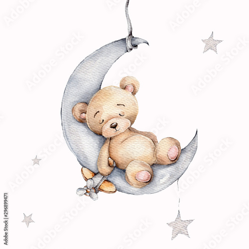 fototapeta na ścianę Cute sleeping teddy bear on the silver moon; watercolor hand draw illustration; with white isolated background