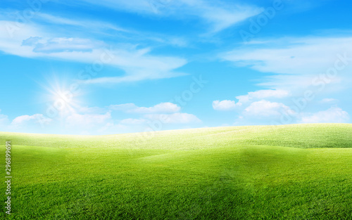 Staande foto Landschappen Beautiful landscape view of Green grass natural meadow field and little hill with white clouds and blue sky in summer seasonal.