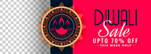 Happy Diwali Festival Sale Banner With Image Space