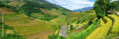 Garden Poster Rice fields Panorama view of terraced rice field in Mu Cang Chai, Vietnam.