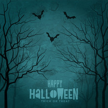 Scary Trees With Flying Bats Halloween Design