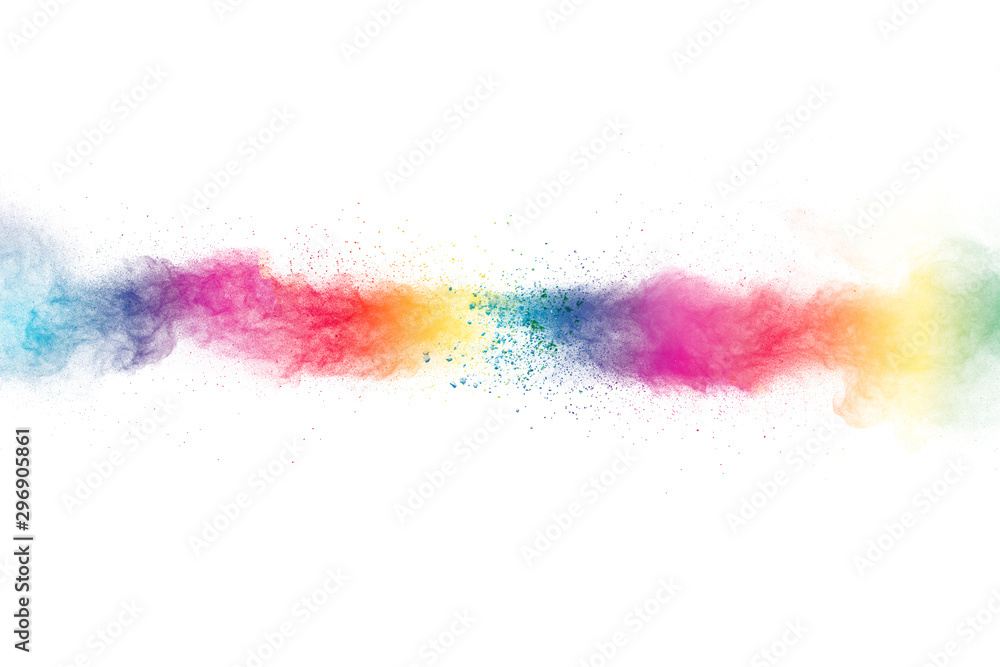 Fototapety, obrazy: Colorful powder explosion on white background.Pastel color dust particle splashing.