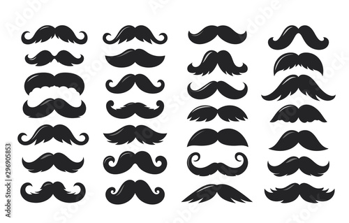 Black sillhouettes of moustache vector collection isolated on white background Fototapet