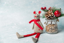 Christmas Toy Mouse With Spruce Branch
