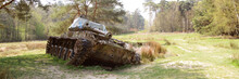 Old Tank In A Forest Area In Stolberg Near Aachen In Germany
