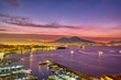 canvas print picture - Dramatic sunrise in Naples with Mount Vesuvius in the back