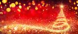 Fototapeta Sypialnia - Golden Christmas Tree In Red Festive Background