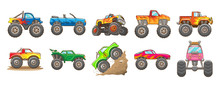 Monster Truck Vector Set Clipart Design