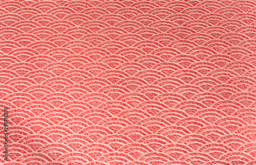 Vászonkép A Japanese greeting card with a traditional lace circles motif pattern on a red cloth background