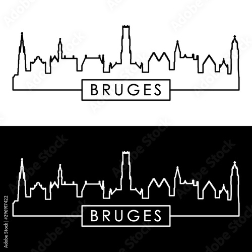 Bruges skyline. Linear style. Editable vector file.