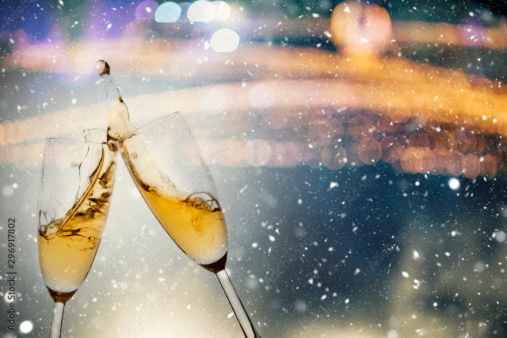 Fototapety, obrazy: New Year's Eve concept with bokeh, fireworks and glasses of champagne.