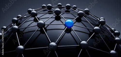 Cuadros en Lienzo  Sphere network structure - abstract design connection design - 3D illustration