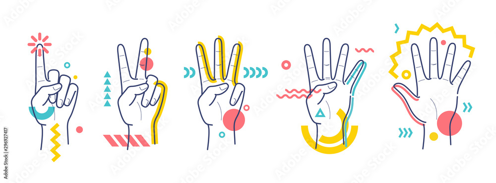 Fototapeta Hands showing numbers one, two, three, four, five. Flat / line style with colorful small geometric particles and dots. Set elements.