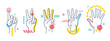 Hands showing numbers one, two, three, four, five. Flat / line style with colorful small geometric particle and dots.