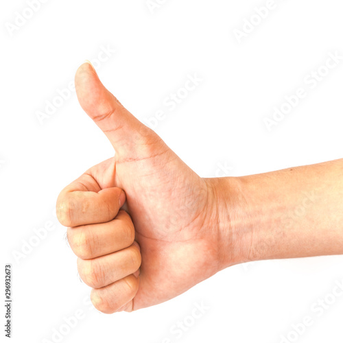 Pinturas sobre lienzo  Studio shot index Asian man hand with thumbs up isolated on white