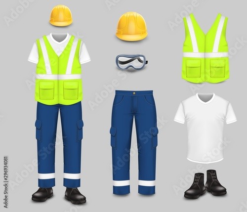 Fotografía Work wear and uniform set, vector isolated illustration